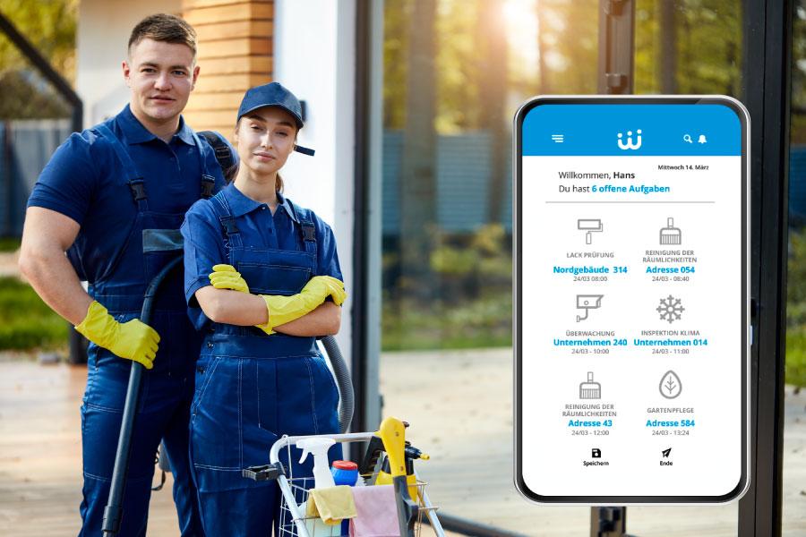 Software mit Zeiterfassungs-App für Reinigungsdienste